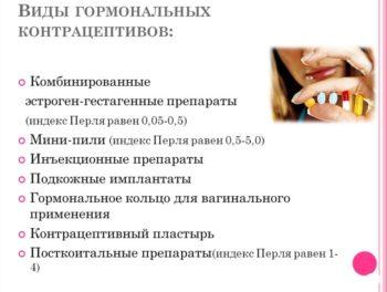 Виды оральных контрацептивов